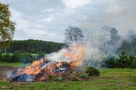ヨーロッパの大規模な自然の景観で燃えてソウルイーターたき火