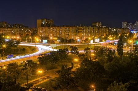Kiev City Lights At Night 写真素材