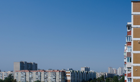soveit era residential buildings in Kiev, Ukraine, framing the clear blue sky on a sunny summer day