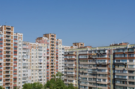 soviet era residential buildings in the capital of Ukraine, Kiev, on a sunny summer day