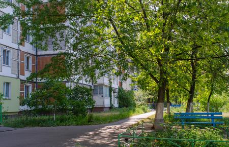 コントラストを満たすそのようなストリート シーンでキエフ、ウクライナの首都での夏の緑と牧歌的な街は都市の自然にそびえる実用的なソ連時代