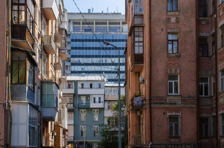 perspectives in Kiev, capital city of Ukraine, with a multitude of architectural styles meeting in urban scenery 写真素材