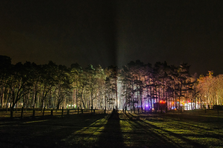 Colorful lights from the christmas market breaking through the dark trees of this rural scenery at night