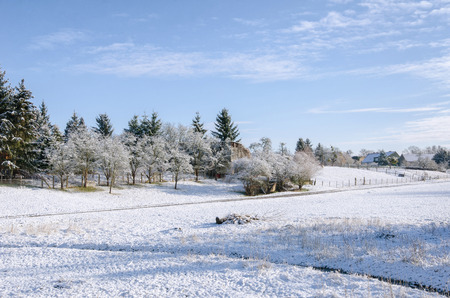 snow covered scenery of a winter in a village surrounded by fields and trees