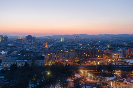Vienna city lights at sunset in winter 写真素材