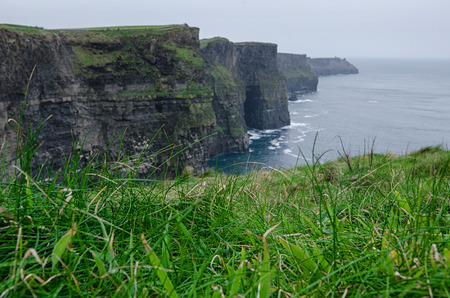 green grass with cliffs of moher in the background 写真素材