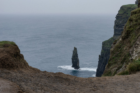 Stone structures at the cliffs of Moher in Ireland