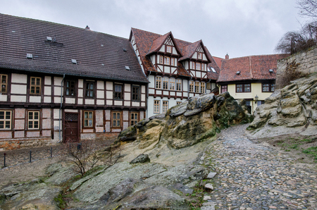 large rock formations at the foot of the castle hill in the old town of Quedlinburg
