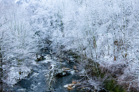 River Bode flowing through the white snowy forest by the town of thale at the foot of Harz mountains in central Germany