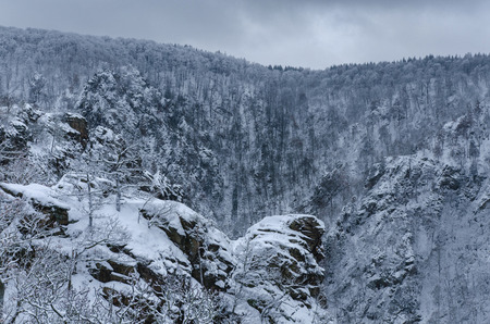 a picturesque scenery of Roßtrappe crag with the bare forest trees covered in snow in the Harz mountains on a cloudy winter day