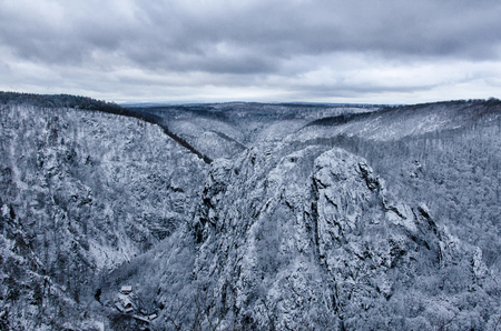 The Bode gorge in winter, named after the river flowing in the Harz mountain valley