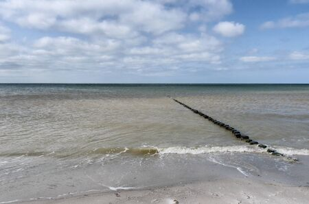 row of small wooden posts leading into the Blatic sea with the cloudy sky meeting it at the horizon