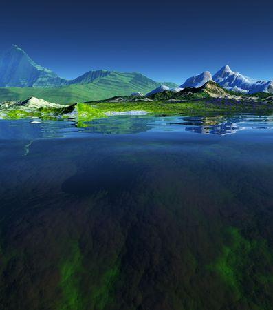 Una representación de un paisaje hermoso