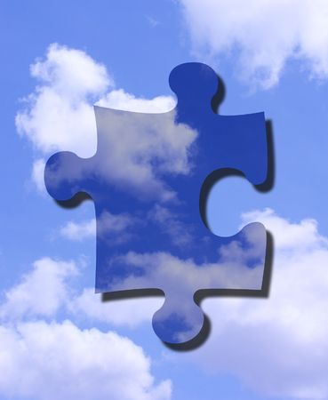 An illustration of a puzzle piece in the sky illustration