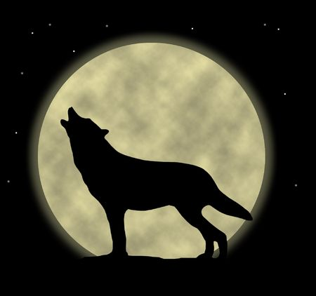 An illustration of a wolf howling at the moon