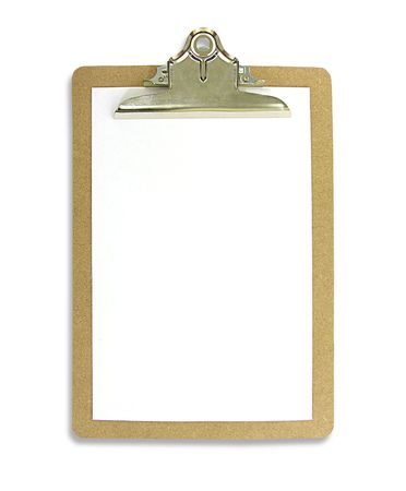 A photo of a blank clipboard