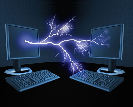 An illustration of a bolt of lightning between computers Stock Photo