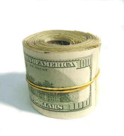 A photo of a roll of 100 dollar bills