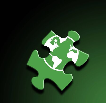 A photo of a puzzle piece with a globe overlay Imagens
