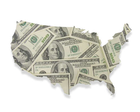 overlaying: A photo of 100 bills overlaying a map of the United States