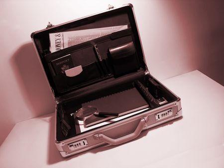 A photo of an open briefcase