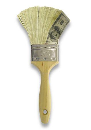 ペイント ブラシの形でお金