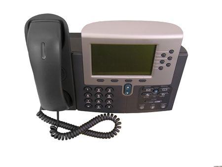Een foto van een zakelijke telefoon van boven