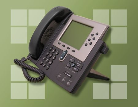 dial pad: A photo of a high-tech business phone Stock Photo