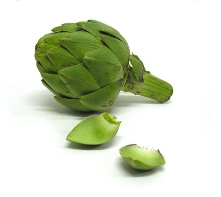 An isolated shot of a raw artichoke