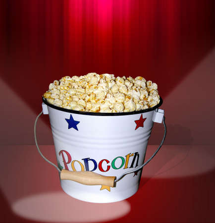 munch: A photo of a bucket of popcorn at the movies