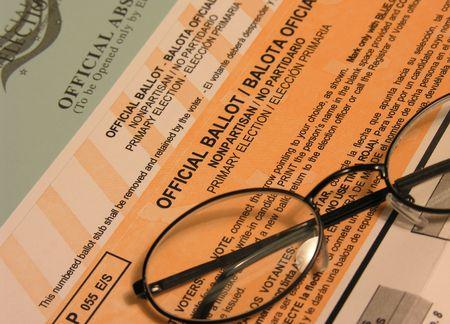 voting ballot: Voting ballot, envelope and glasses  (Focus on
