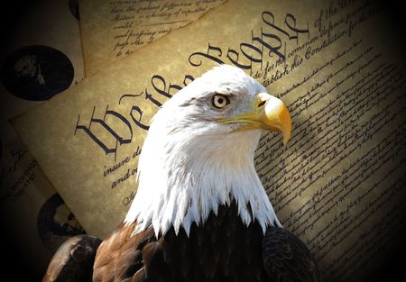 Bald eagle over constitution Stock Photo
