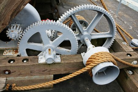 harmonize: Gears and rope in action Stock Photo
