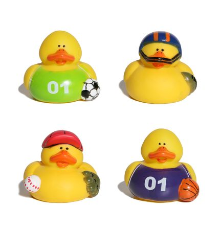Ducks in sporting uniforms photo