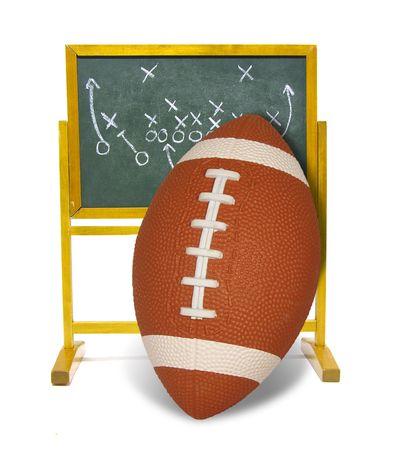 Football leaning against scoreboard