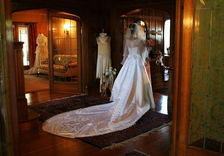Bride starting her walk down the aisle (Soft Romantic Focus)