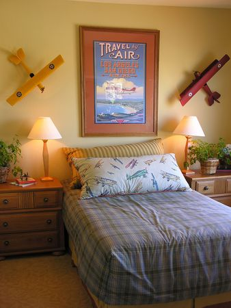 furnishings: Bedroom interior with an airplane theme Stock Photo