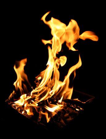 A blazing hot campfire Stock Photo