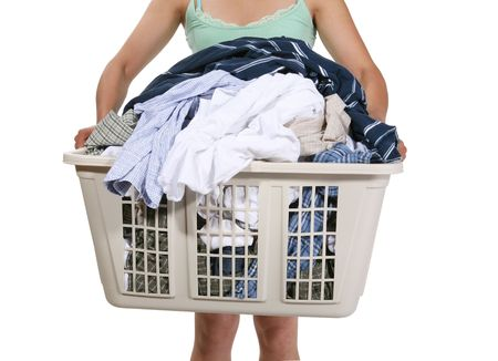 domestic task: Woman carrying the laundry