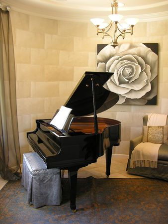 upright piano: Piano in an interior music room