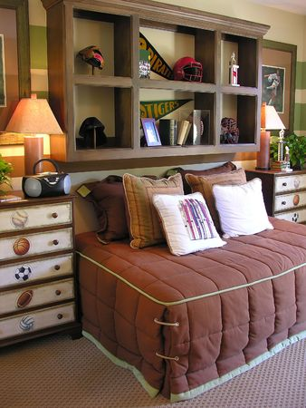 Sports themed bedroom interior