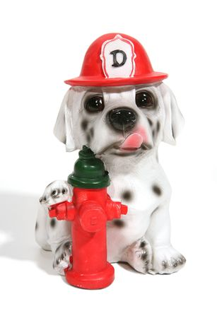 A dog in a firemans outfit