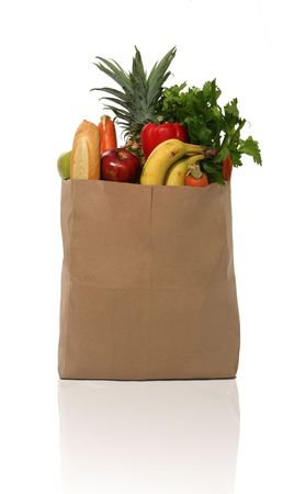grocery bag: A grocery bag full of groceries Stock Photo