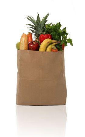 A grocery bag full of groceries Banco de Imagens