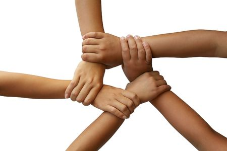 strong partnership: A ring of hands joined to form a teamwork theme