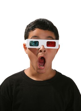 aghast: Boy with 3D glasses on watching a 3D movie