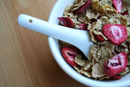 Dry cereal in a bowl photo