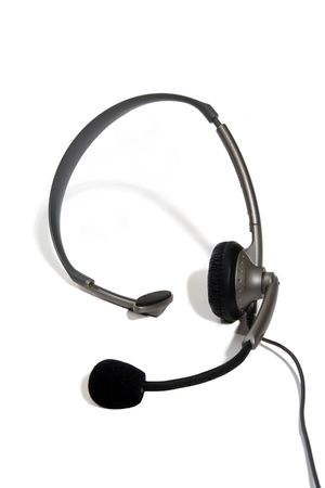 teleconference: Customer service headset over white
