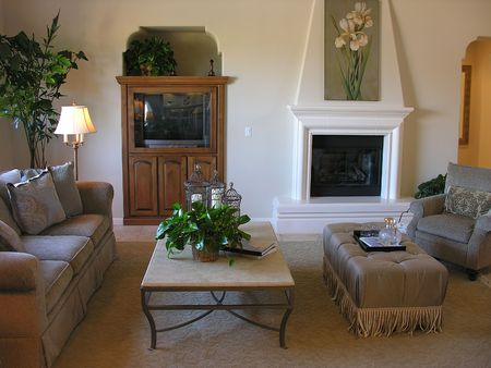 mantel: Nicely decorated living room interior Stock Photo