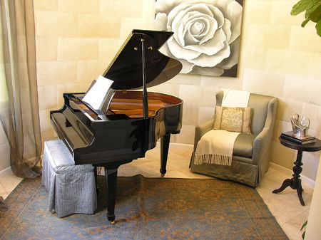 melodic: Piano in an interior music room